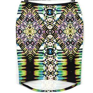 Bisou Bisou Skirt XL Multi Color Stretch High Low